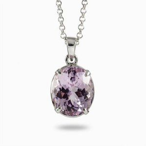 21 Carats Oval Pink Kunzite Necklace Pendant White